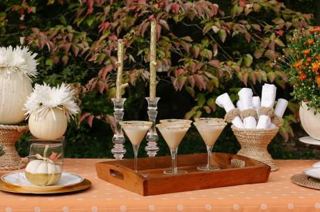 Fall decor and pumpkin pie martinis www.jjkeras.com